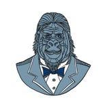 Gorilla Tuxedo Jacket Monoline Color stock illustration