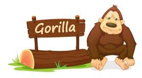Gorilla und Namensschild Stockfotografie
