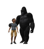 Gorilla Walking With A Child Stock Photography