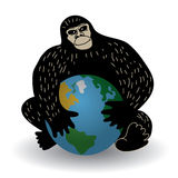 Gorilla and world crisis ecology or policy. Gorilla with world crisis ecology or policy problem. Color vector illustration. EPS8 Royalty Free Stock Photography