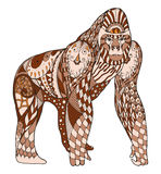 Gorilla zentangle stylized, vector, illustration, freehand penci Stock Images