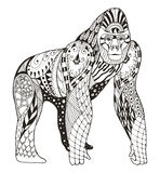 Gorilla zentangle stylized, vector, illustration, freehand penci Royalty Free Stock Photos