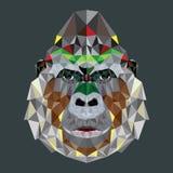 Gorillahuvuddesign i geometrisk modell Royaltyfria Bilder