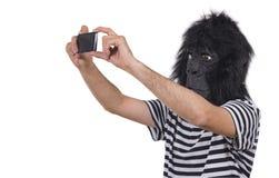 Gorillaman som tar foto royaltyfria foton