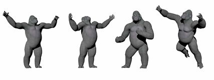 Gorillas up - 3D render Royalty Free Stock Photos