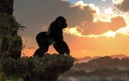 Gorille au coucher du soleil illustration stock