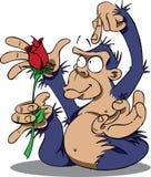Gorille avec Rose Images libres de droits