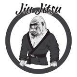 Gorille de lutteur habillé dans le kimono Images libres de droits