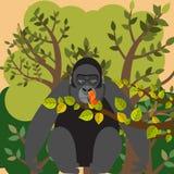 Gorille et papillon illustration stock