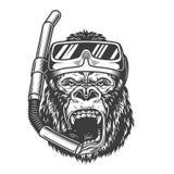 Gorille fâché monochrome de vintage illustration de vecteur