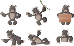 Gorille heureux de bande dessinée drôle Image libre de droits