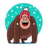 Gorille mignon dans un chapeau rouge Image libre de droits