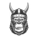 Gorille sérieux dans le style monochrome illustration stock