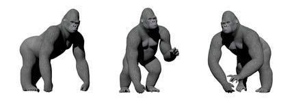 Gorillor räcker på jordningen - 3D framför royaltyfri illustrationer
