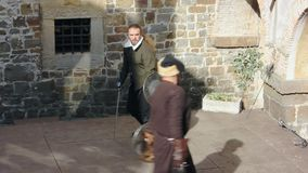 Exhibition duel at the seventeenth century historical reenactment in Gorizia stock footage