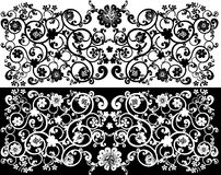 Gorizontal flower black and white strips Stock Images