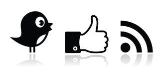 Gorjeo, Facebook, iconos brillantes negros de RSS fijados Foto de archivo