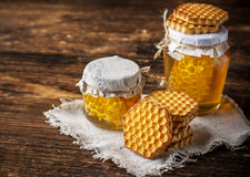 Gorka honey cookies and a glass honeycomb Royalty Free Stock Photography