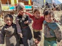 4 sherpa kids playing stock photography