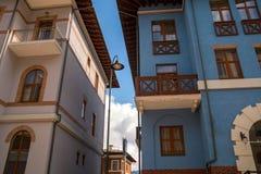 Gorki city 980, Sochi, Russia, Ski Resort. 16 March 2018 Blue alpine house stock photo