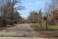 Moscow Oblast. April in Korolyov. Welcome to Gorki District. stock images