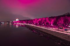 Gorky park in pink in purple lights. stock photo