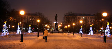 Gorky square decorated light Christmas trees Royalty Free Stock Image