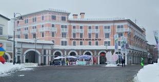 Gorky Uroczysty hotel w Górnym Gorod - sezon miejscowość wypoczynkowa 960 metrów nad poziom morza Zdjęcie Stock