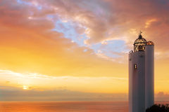 Gorliz lighthouse at sunset Royalty Free Stock Photos