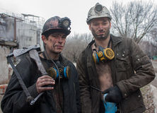 Gorlovka Ukraina - Februari, 26, 2014: Gruvarbetaremin som after namnges Arkivfoton