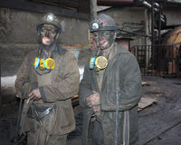 Gorlovka, Ukraine - December 10, 2012: Miners after work shift Royalty Free Stock Photo