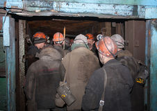Gorlovka, Ukraine - February, 26, 2014: Miners of the mine named Stock Image