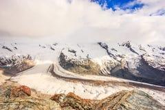 Gorner glaciärsikt från den Gornergrat stationen, Zermatt, Schweiz, Europa royaltyfria foton