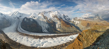 Gorner Glacier (Gornergletscher) and Matterhorn Stock Photos