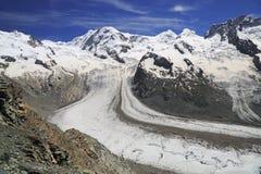 The Gorner Glacier (Gornergletscher) in Switzerland. Second largest glacier in the Alps, Europe stock image