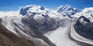 Gorner and Grenz Glaciers Royalty Free Stock Photos