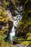 Gorner wąwóz z turystyczną ścieżką below i rzeką Fotografia Royalty Free