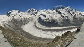 Gornergrat glacier. Large panoramic view of Gornergrat glacier. Switzerland Stock Images