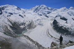 Gornergrat-Gletscher in den Schweizer Alpen Lizenzfreies Stockbild