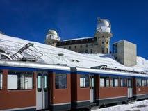 Gornergrat Gornergratbahn ferroviaire à la station de Gornergrat avec images libres de droits