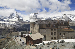 Gornergrat hotel and Matterhorn peak, Alps, Switzerland. Panoramic view of Matterhorn peak from Gornergrat Mountain, Switzerland royalty free stock images