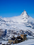 Gornergrat observation tower and Matterhorn Royalty Free Stock Photos