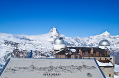 Gornergrat observation tower and Matterhorn Stock Photos