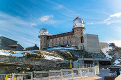 The Gornergrat Observatory and Matterhorn peak Royalty Free Stock Photos
