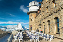 The Gornergrat Observatory and Matterhorn peak Royalty Free Stock Images