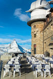 The Gornergrat Observatory and Matterhorn peak. Zermatt Switzerland stock photos