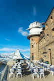 The Gornergrat Observatory and Matterhorn peak, Zermatt Royalty Free Stock Images