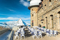 The Gornergrat Observatory and Matterhorn peak, Zermatt Royalty Free Stock Photo