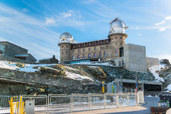 The Gornergrat Observatory and Matterhorn peak Stock Photo