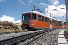 Gornergrat railway Zermatt. The Gornergrat railroad train on its way to the summit Royalty Free Stock Image